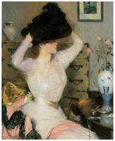 Lady Trying on a Hat (The Black Hat)