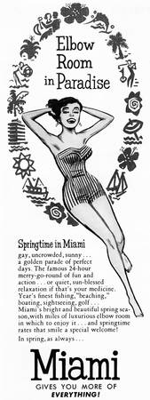 Miami 1956 travel ad; artist unattributed