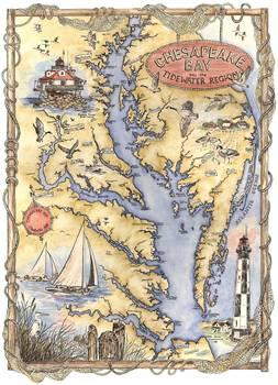 Illustrated Chesapeake Bay Map By Sharon Himes