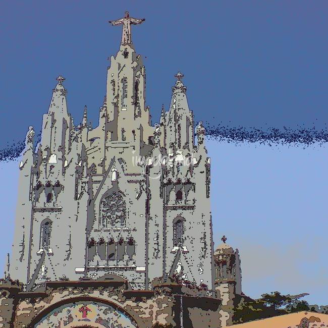 Barcelona Church On A Hill By Dave Hitchins