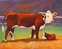 Folk Art Hereford Cow and Calf