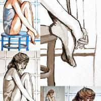 sitting sad by Louise Dionne