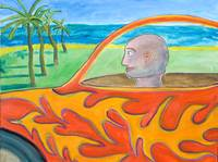 Man in Flame Car