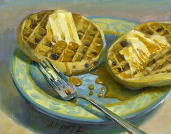 Blueberry Eggo Waffles With Maple Syrup by artist Hall Groat II. Giclee prints, art prints, a still life, fine art print; from an original oil painting