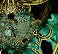 Metal Gold Teal Glass 4