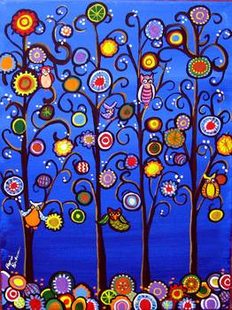 Owls in Trees Whimsical Folk Art by artist Renie Britenbucher. Giclee prints, art prints, posters; from an original  painting