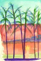 watercolor sunset palms art