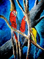 parrot tropical art oil painting
