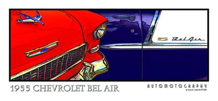 1955 Chevrolet Bel Air - Red and Blue
