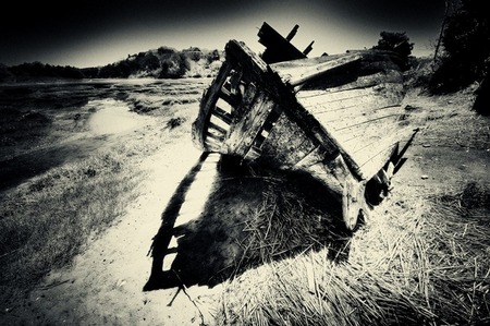 Shipwreck Pinhole Photography by DApixara Black White Photos