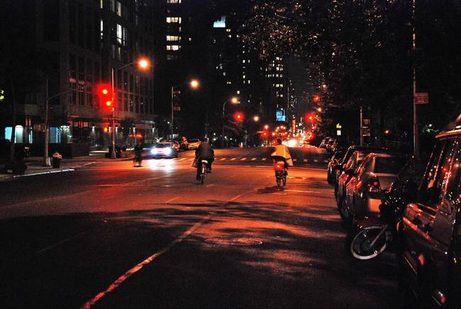 Bicycles in the night )NYC(