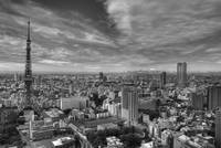 Morning View from Atago Tower 1 (b&w HDRI)