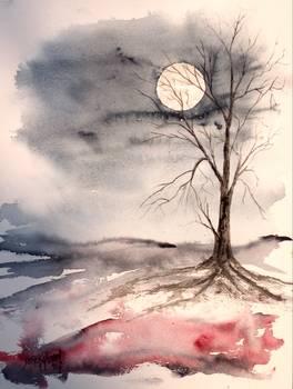 Moon Light Gothic Landscape Painting By Derek Mccrea