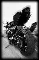 Suzuki GSXR Motorcycle Zoomed Black and White