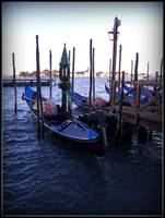 Venice lagoon and gondolas