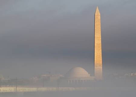Fog and the monuments in Washington DC