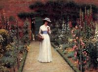 Lady in Garden by Edmund Blair Leighton