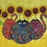 """Cats with Sunflowers"" by sandygrafik_arts"