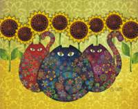 Cats with Sunflowers