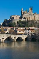Beziers Cathedral and the river Orb