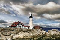 Afternoon Clouds at Portland Head Lighthouse in Ma