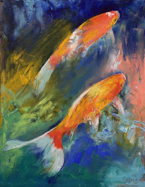 Stunning koi artwork for sale on fine art prints for Two koi fish