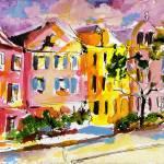 """Rainbow Row Charleston South Carolina Watercolor"" by GinetteCallaway"