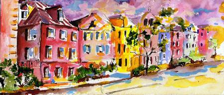 Rainbow Row Charleston South Carolina Watercolor