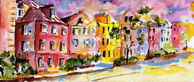 "c1d37c049f8 ""Rainbow Row Charleston South Carolina Watercolor"" by GinetteCallaway"
