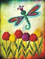 Dragonfly Over Tulips