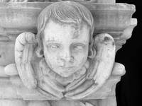 Cherub Statue Black and White