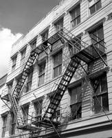 New Orleans Fire Escape Black and White