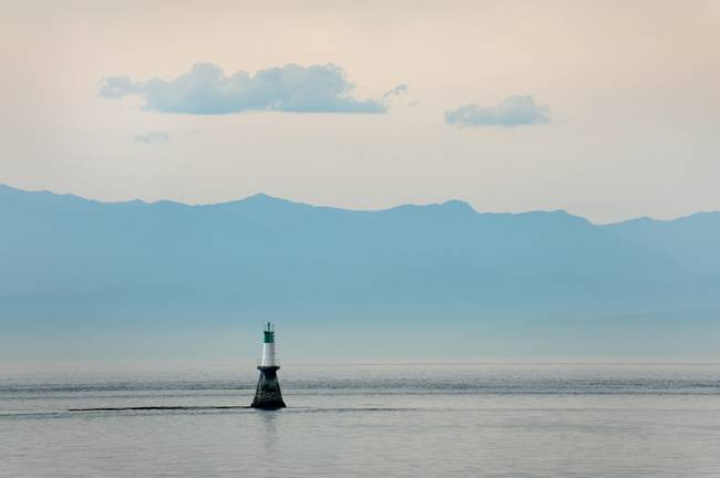 Channel Marker and the Olympic Mountains