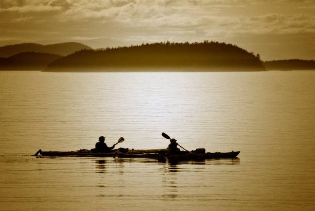 Kayakers paddle through the San Juan Islands