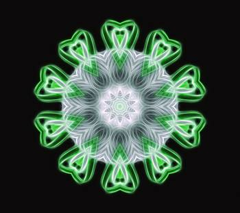 Twisted 1 Green Kaleidoscope Art 1