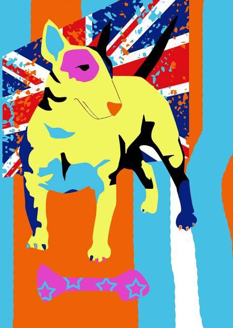 Pop Art Bull Terrier By Victoria Sponge - Bull terrier art