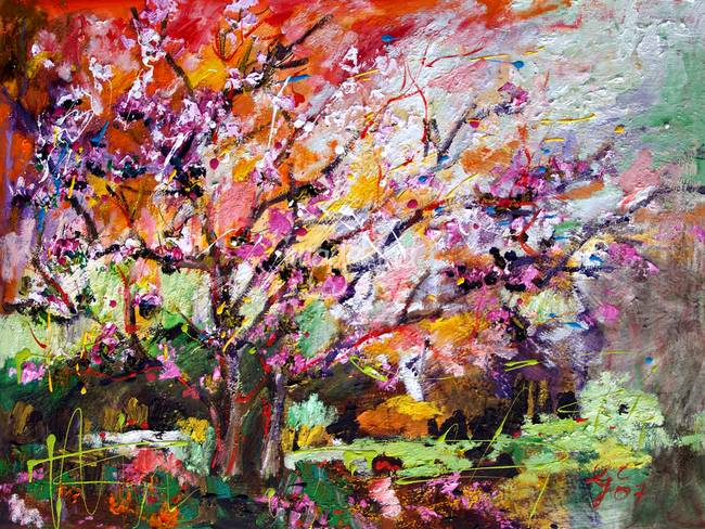 Abstract Tree Spring Blossom Original Painting By Ginette Callaway