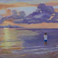 Fishing at Sunrise Art Prints & Posters by Betty Laur