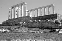 Remains, Temple of Poseidon, Sounion, Greece, B&W by Priscilla Turner