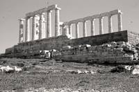 Remains, Temple of Poseidon, Sounion, Greece Sepia by Priscilla Turner