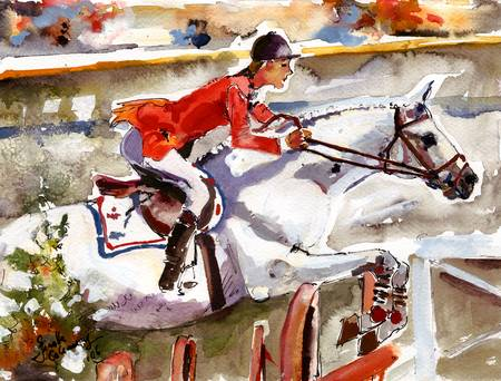 Abdullah von Donauwind 1984 Olympics Painting by G by Ginette Fine Art LLC