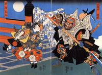 Uchiwakamaru Fighting Benkei on Gojo Bridge