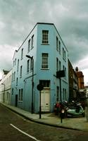 Blue house in london near Saint Pancras station
