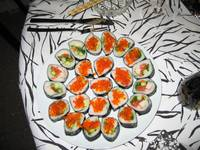 Rolls, some with smelt trout roe.