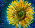 Yellow Sunflower in Shimmering Blue