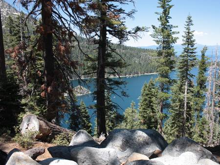 Rocks Trees and Emerald Bay