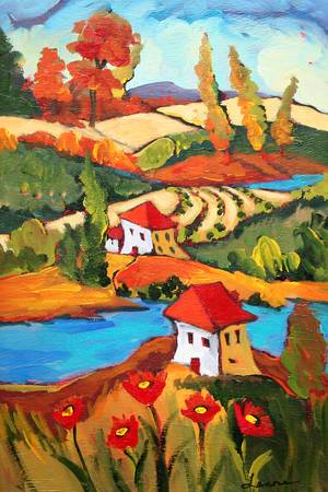 autumn hues by artist elaine lanoue. Giclee prints, art prints, a landscape, colorful contemporary art; from an original acrylic painting
