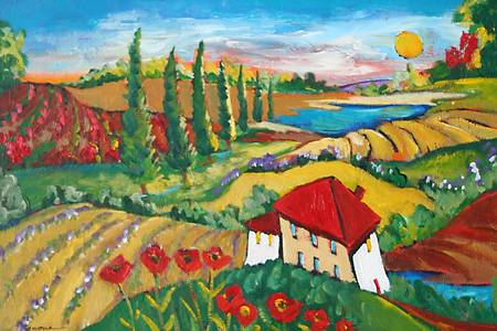 Bountiful Fields by artist elaine lanoue. Giclee prints, art prints, a landscape, colorful contemporary art; from an original acrylic painting