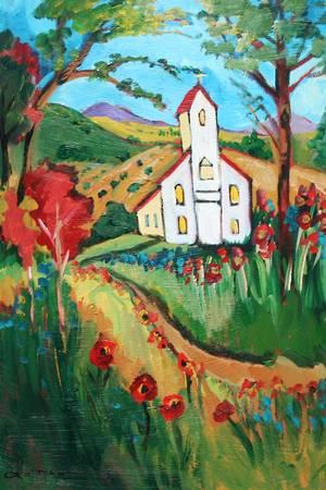 church on Hwy 6 by artist elaine lanoue. Giclee prints, art prints, a landscape, colorful contemporary art; from an original acrylic painting