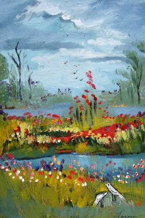 Cloudy Days by artist elaine lanoue. Giclee prints, art prints, a landscape, colorful contemporary art; from an original acrylic painting